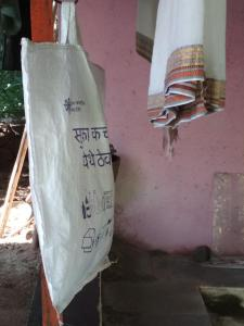 Each house keeps a bag for dry waste